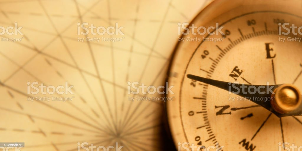 Compass On An Old Map stock photo