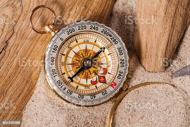 Photo of compass on beach sand