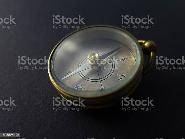 Compass On Black Background Stock Photo - Download Image Now