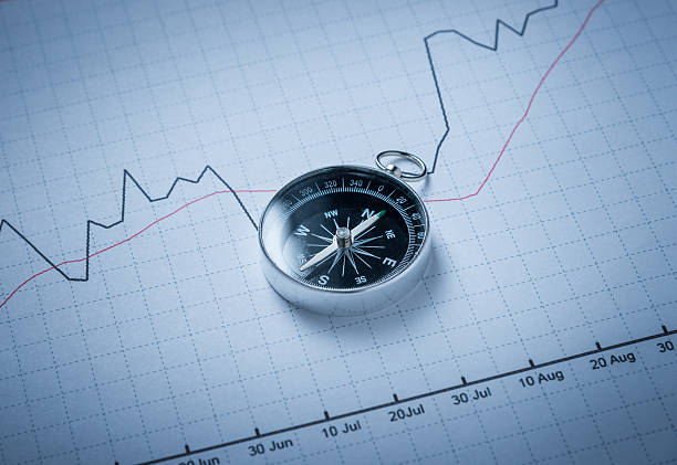 Compass on financial chart stock photo