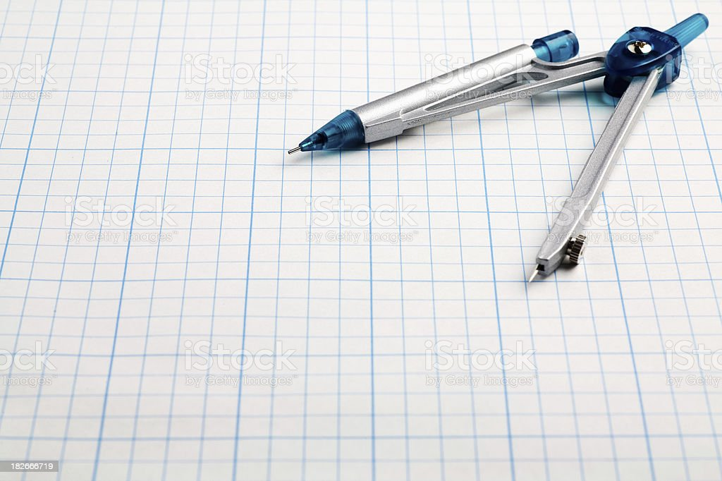Compass on Graph Paper royalty-free stock photo