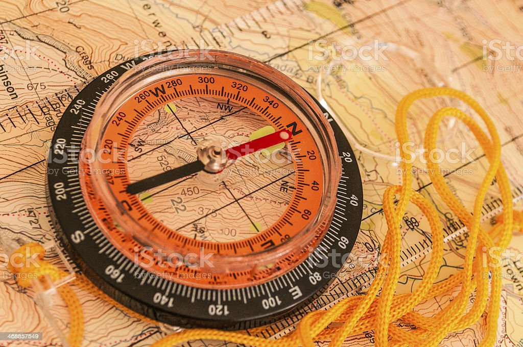 Compass on Map royalty-free stock photo