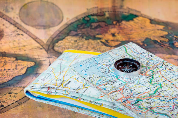 Compass on maps. stock photo