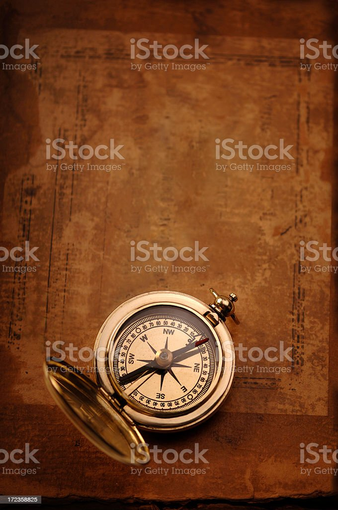 Compass on Old Paper royalty-free stock photo