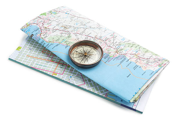 Compass on road map stock photo
