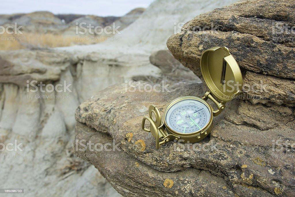 Compass on Rock stock photo