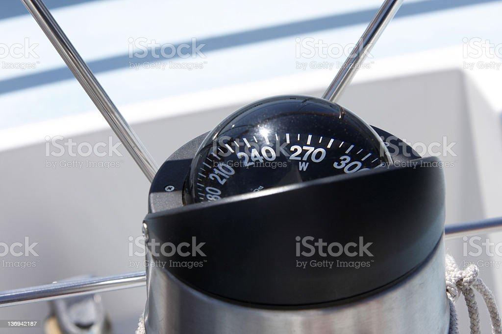 Compass on sailboat stock photo