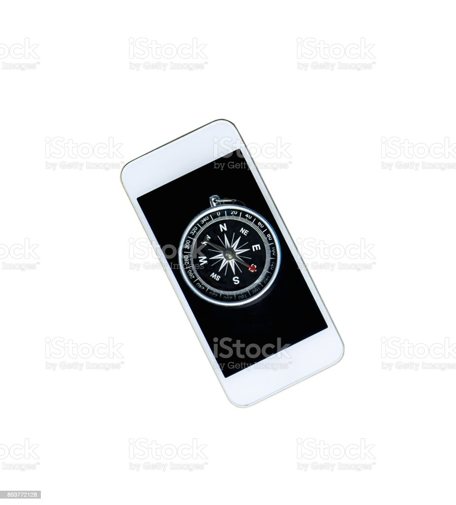 Compass on smartphone for smart navigation concept stock photo