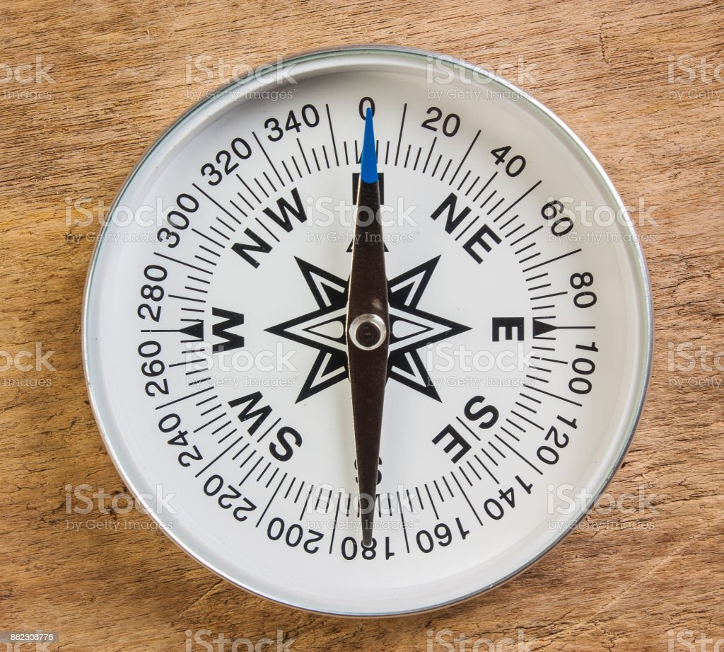 compass on the background of the wooden planks stock photo