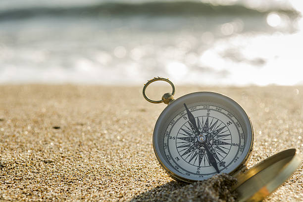 Compass on the beach stock photo