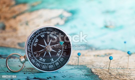 istock Compass on the map 690291164