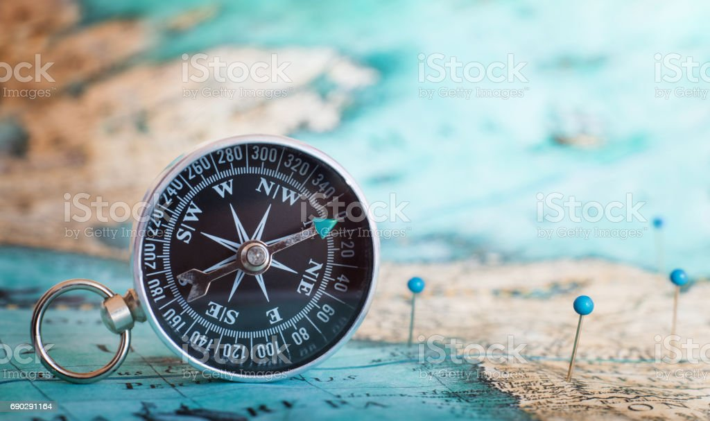 Compass on the map - foto stock