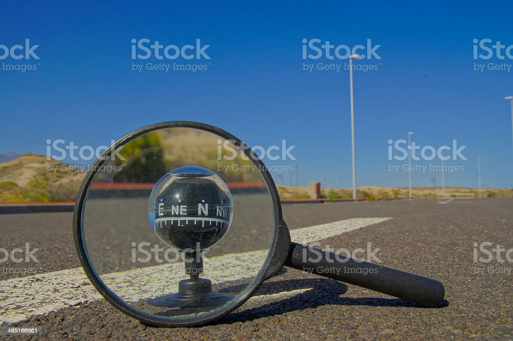 Compass on the Road stock photo
