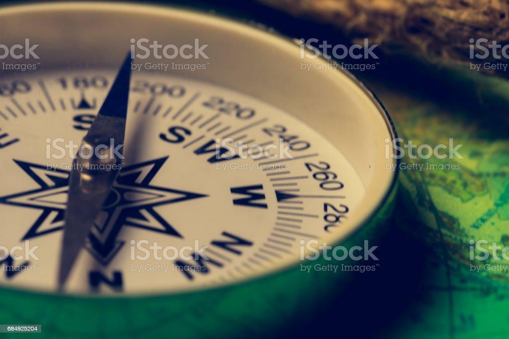 compass on the world map Lizenzfreies stock-foto