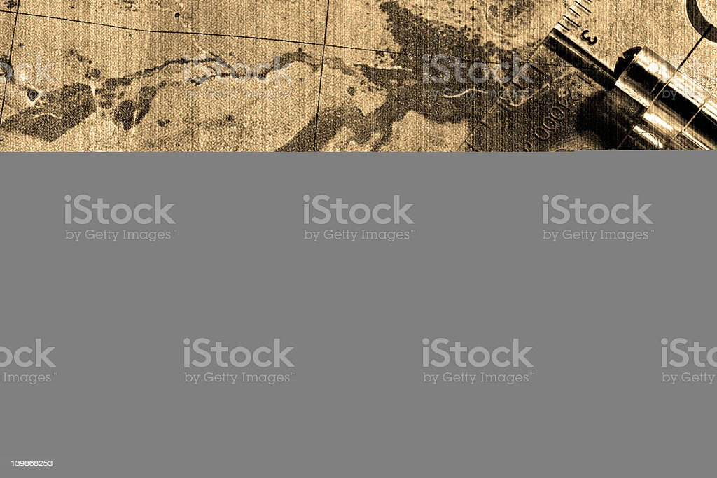 Compass on top of the map (vintage)  #1 royalty-free stock photo