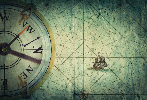 Compass on vintage map. Adventure, travel, stories background. stock photo