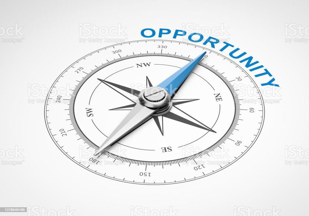 Kompass auf weißem Hintergrund, Gelegenheit-Konzept - Lizenzfrei Blau Stock-Foto
