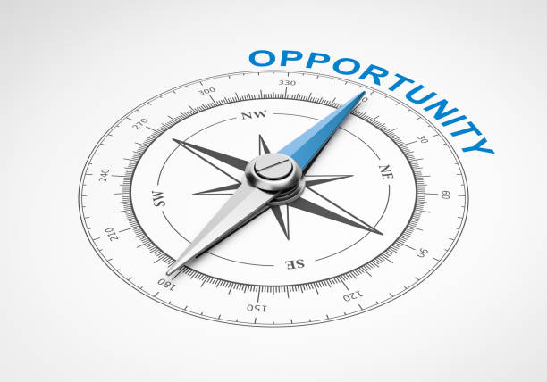 Compass on White Background, Opportunity Concept Magnetic Compass with Needle Pointing Blue Opportunity Word on White Background 3D Illustration opportunity stock pictures, royalty-free photos & images
