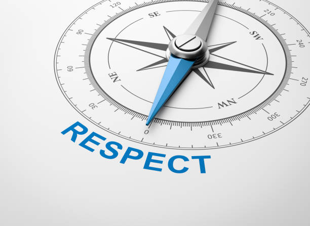 Compass on White Background, Respect Concept Magnetic Compass with Needle Pointing Blue Respect Word on White Background 3D Illustration dignity stock pictures, royalty-free photos & images