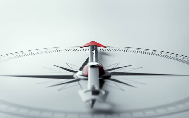 compass on white background with selective focus - west direction stock pictures, royalty-free photos & images