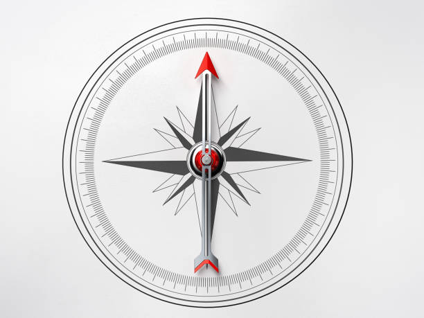 Compass on White Background-Directly Above stock photo