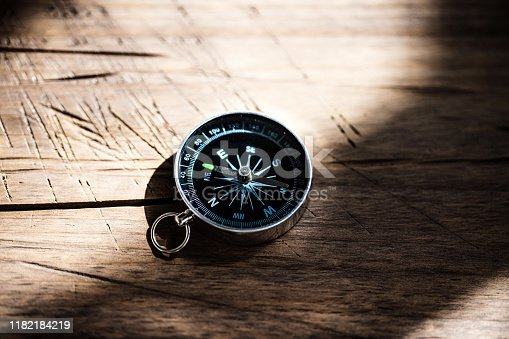 Compass on wood