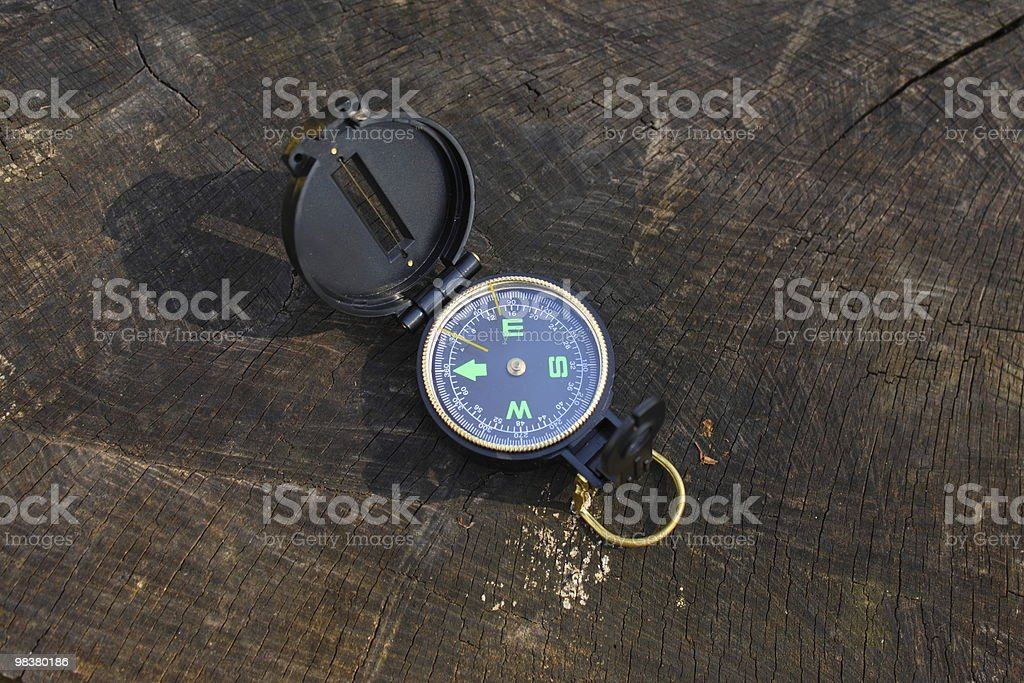 Compass on wood royalty-free stock photo