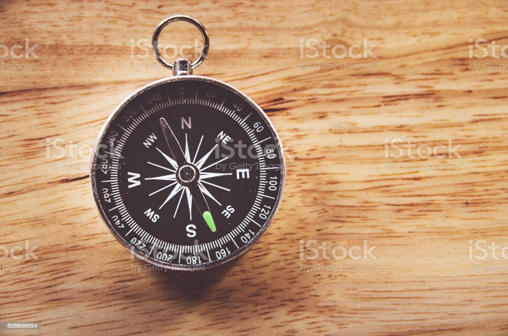 compass on wooden background with space for text stock photo