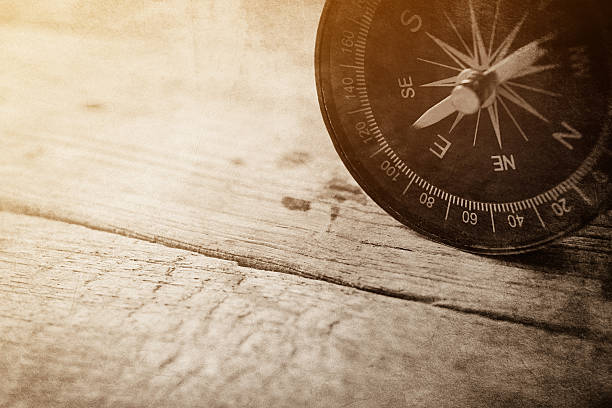 compass on wooden table in vintage style for background - Photo