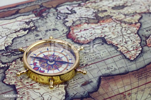 istock Compass on world map 188083979