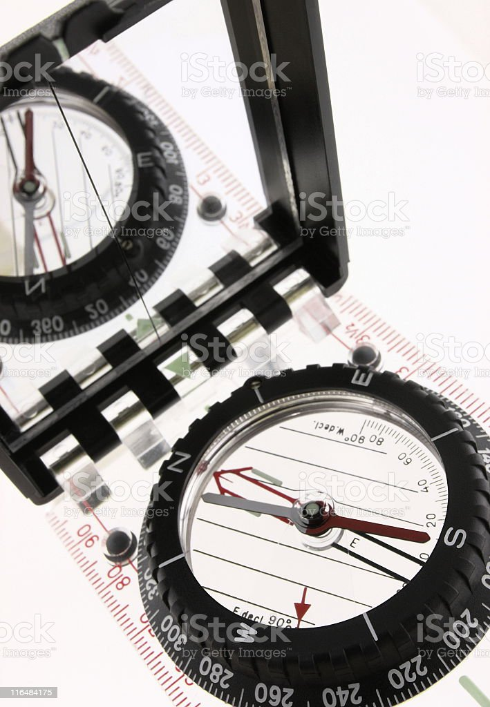 Compass Orienteering Cartography Map Tool royalty-free stock photo