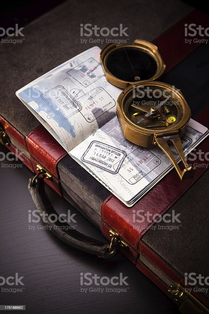 Compass, Passport, and Briefcase royalty-free stock photo