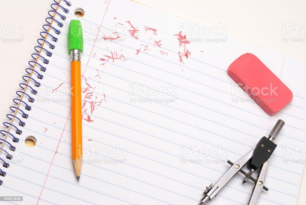 Compass, pencil and eraser