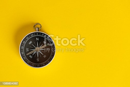 Compass on the yellow background.