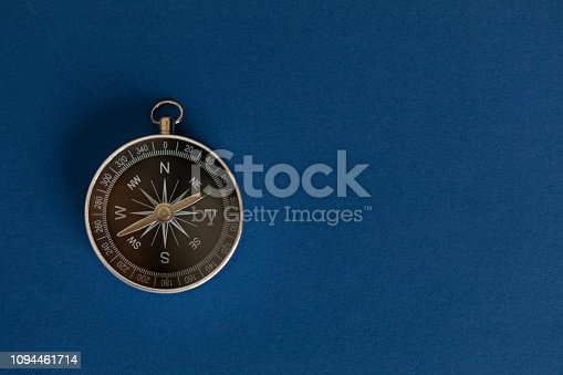 Compass on the dark blue background.