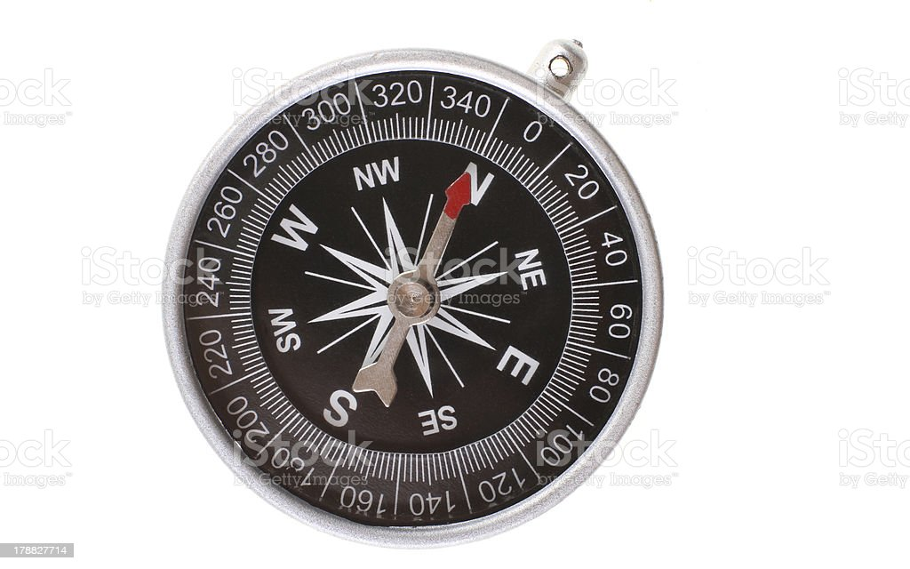 Compass pointing north stock photo