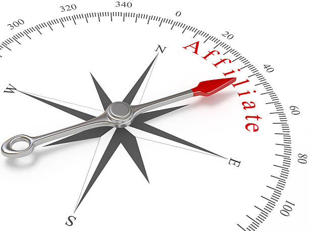 Compass Pointing to Affiliate Compass on white background. affiliate stock pictures, royalty-free photos & images
