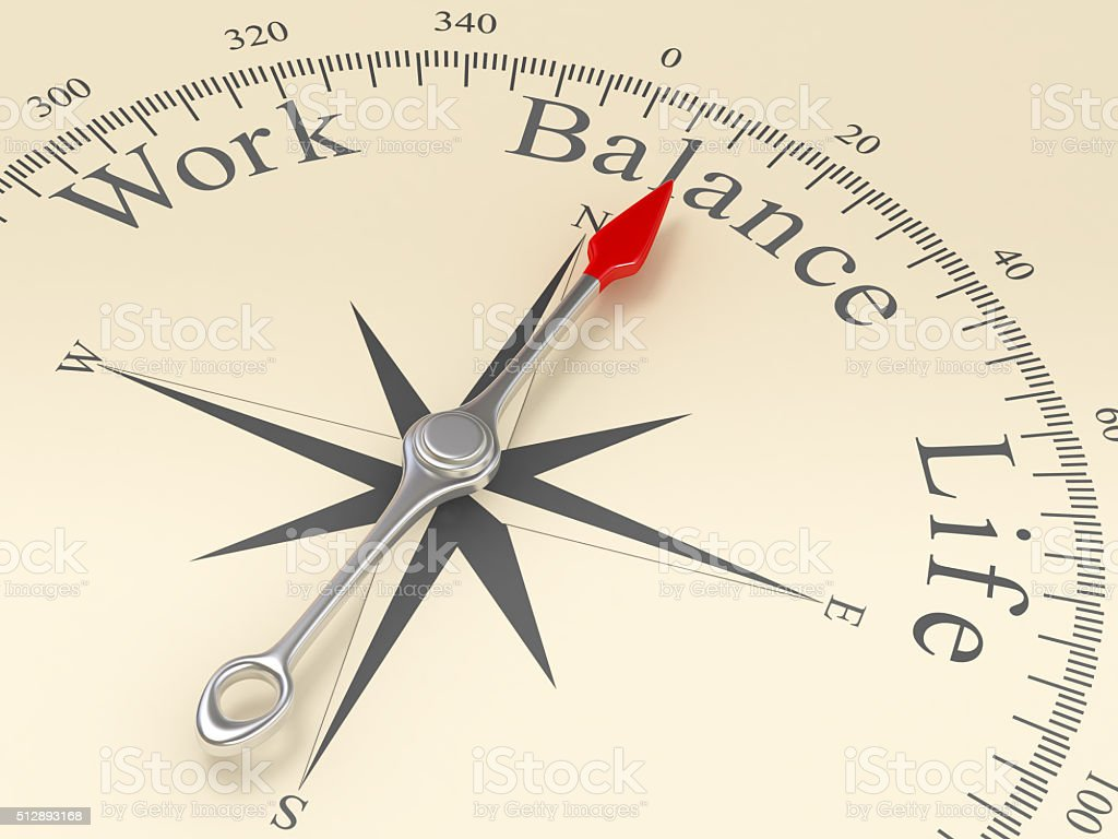 Compass Pointing to Balance stock photo