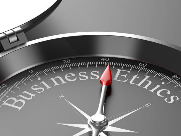 compass pointing to business ethics - responsible business stock photos and pictures