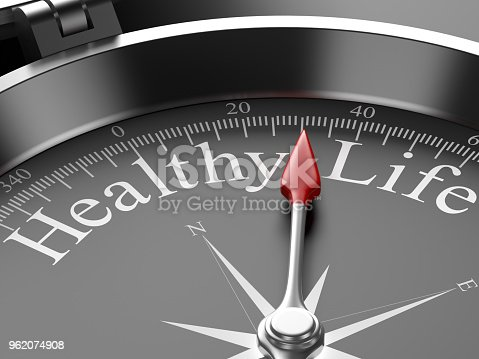 Compass Pointing to Healthy Life