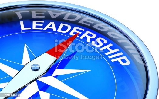 istock Compass pointing to leadership text illustration 176543617