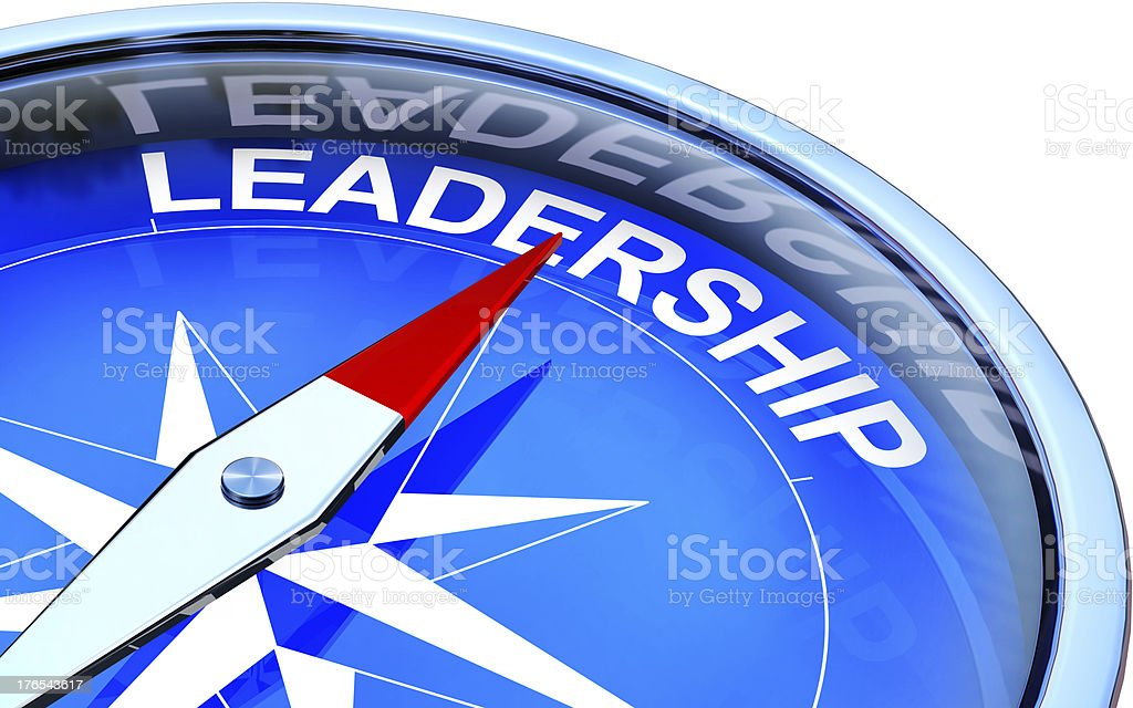 Compass pointing to leadership text illustration stock photo