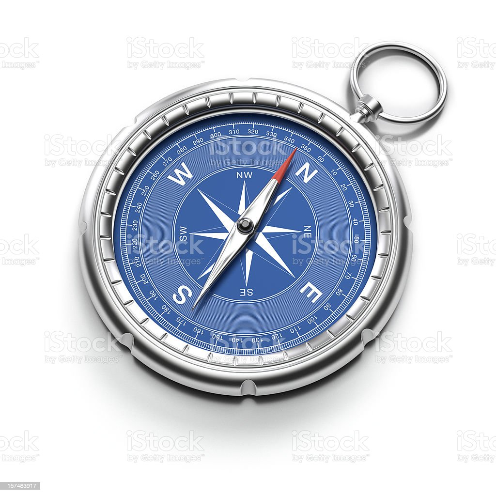 Compass pointing to North with clipping path stock photo