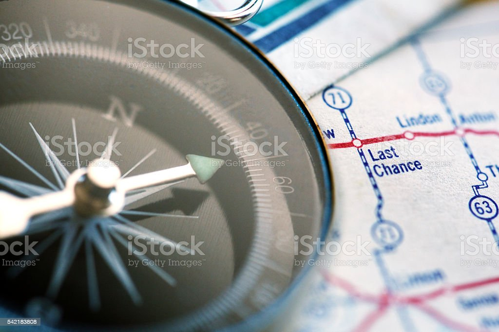 Compass Pointing Towards Last Chance stock photo
