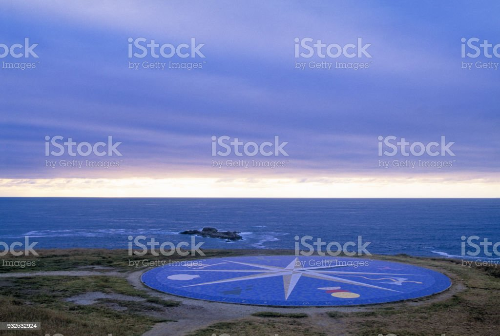 Compass rose at dusk stock photo