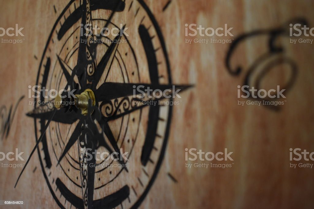 Compass Rose Burned into Wood stock photo