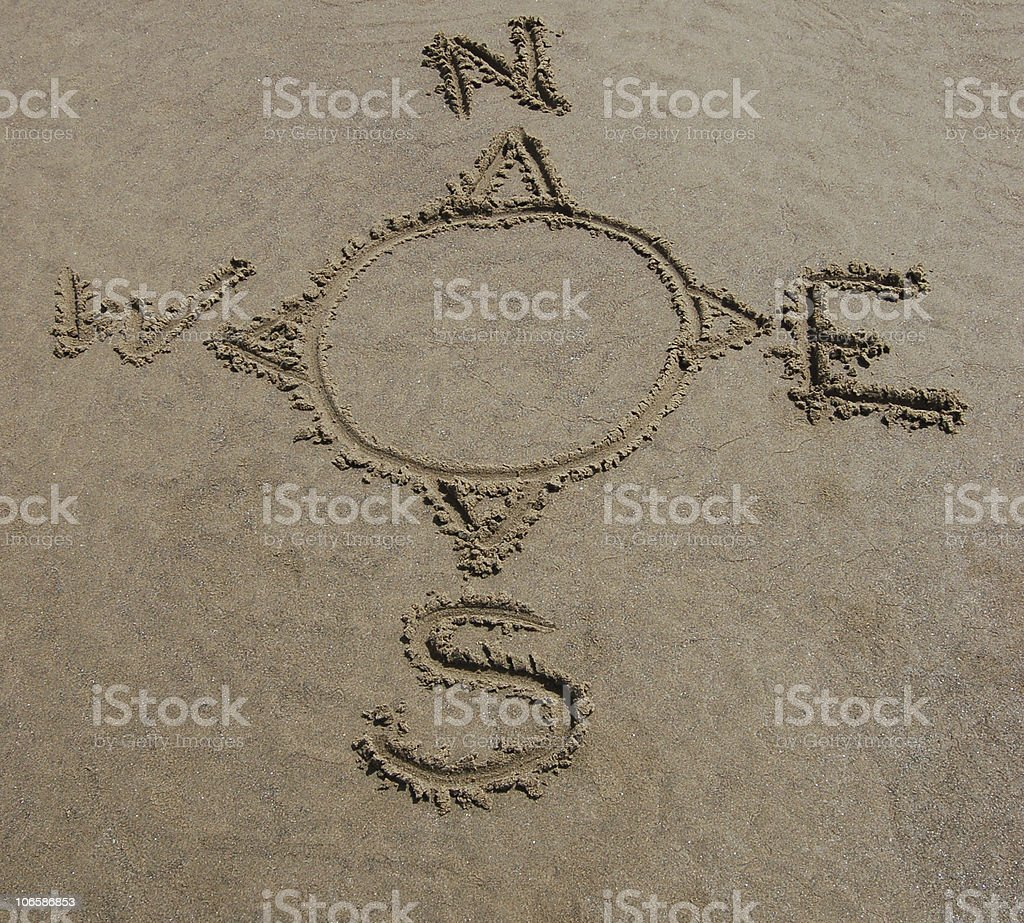 Compass Rose in Sand stock photo
