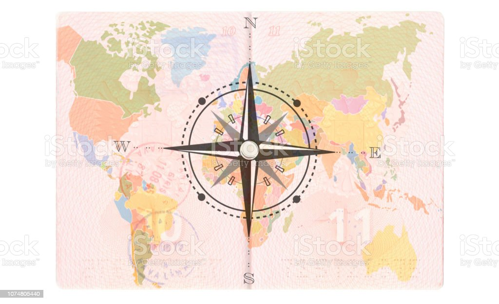 Picture of: Compass Rose In The Passport World Map Travel Concept Stock Photo Download Image Now Istock