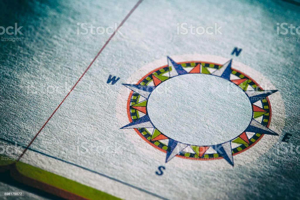 Compass Rose On A Map stock photo