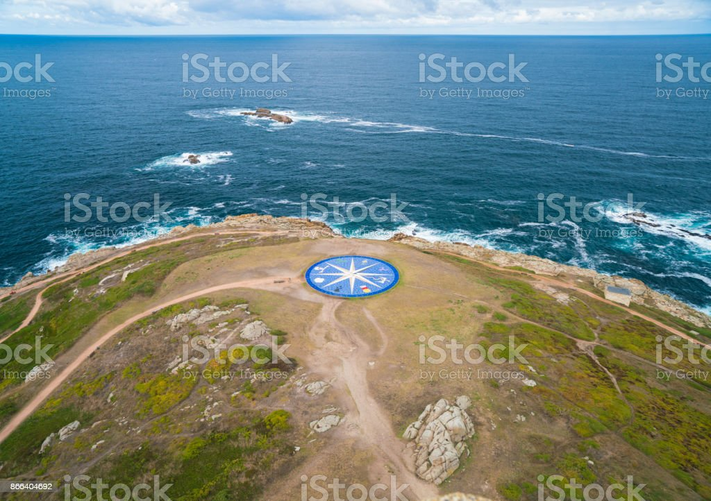 Looking down at the 8 point Compass Rose on the coast of A Coruña in...